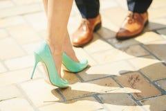 Tourquoise women heel Royalty Free Stock Image