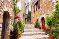 Tourrettes-Sur-Loup. A beautiful scene along the medieval streets of a hilltop village along the French Riviera, in southern France Royalty Free Stock Photo