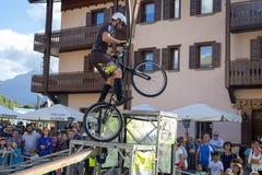 Tours acrobatiques de cyclistes Image de couleur photo stock