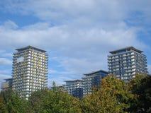 Tours d'appartements derrière des arbres Photographie stock