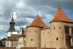 Tours de barbacane de Varsovie image stock
