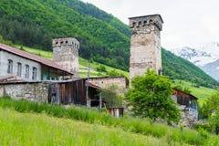 Tours de Mestia, Svaneti Image libre de droits