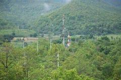 Tours de télécommunication dans la forêt Photographie stock