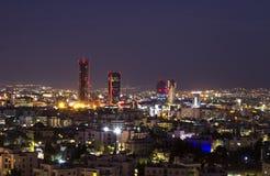 Tours et hôtels de région d'Abdali la nuit Photos libres de droits