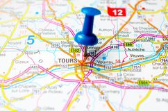 Tours on map. With push pin Royalty Free Stock Image