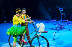 Tours of the Moscow Circus on Ice. Trained dogs stock photos