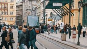 Tours tchèques de tram par la vieille ville de la République Tchèque, Prague banque de vidéos