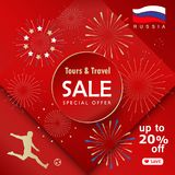 2018 soccer world cup Sale Travel Russia red wallpaper. 2018 World Cup Soccer Tours and Travel Sale special offer lettering, gold logo, abstract folk art Royalty Free Stock Images
