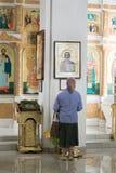 TOURS VITRYSSLAND - JULI 15, 2017: inre i domkyrkan av St Cyril och Laurence av Turov arkivbild