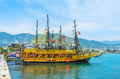 The tours on wooden ships in Alanya Stock Photography