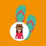 Toursit female hat sunglasses flip flops Royalty Free Stock Photography
