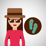 Toursit female hat sunglasses flip flops Royalty Free Stock Photos