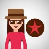 Toursit female hat sunglasses starfish Stock Photo