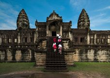 Toursits, Angkor Wat στην Καμπότζη Στοκ φωτογραφία με δικαίωμα ελεύθερης χρήσης