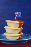 Tourtes à la viande et espace australiens de copie Photographie stock