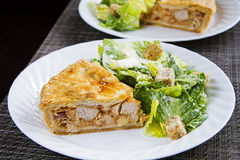 Tourtiere with caesar salad Stock Photo