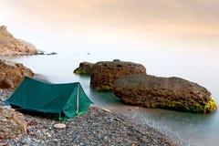 Tourust tent near sea Royalty Free Stock Image