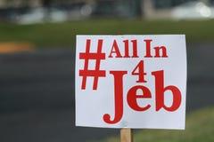 Tous dans le signe de campagne de 4 Jeb Image libre de droits