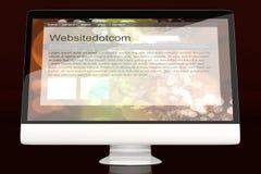 Tous dans un ordinateur montrant un site Web générique Images libres de droits