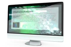 Tous dans un ordinateur montrant un site Web générique Photographie stock libre de droits