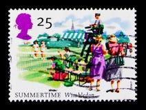 Tous les championnats de tennis de l'Angleterre, Wimbledon, les quatre saisons : Serie d'été, vers 1994 Photos libres de droits