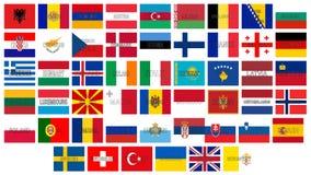 Tous les drapeaux de l'Europe illustration de vecteur