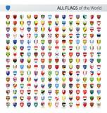 Tous les drapeaux de vecteur de bouclier du monde - collection illustration libre de droits
