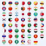 Tous les drapeaux des pays de l'Asie Style brillant rond illustration libre de droits