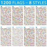 Tous les drapeaux du monde Grand positionnement Différents types Icônes plates de vecteur illustration libre de droits