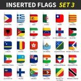 Tous les drapeaux du monde ont placé 3 Conception collante insérée et de flottement de note 3/8 illustration de vecteur