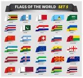 Tous les drapeaux du monde ont placé 5 Style de ondulation de ruban illustration libre de droits
