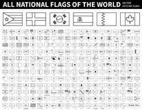 Tous les drapeaux nationaux du monde Conception de forme d'ensemble Vecteur Editable de course photos libres de droits