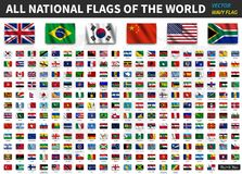 Tous les drapeaux nationaux du monde Texture de ondulation réaliste de tissu avec la conception d'ombre Vecteur Photos stock