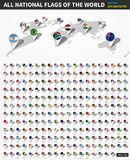 Tous les drapeaux nationaux officiels du monde Goupille d'emplacement de navigateur de GPS sur la carte de la terre de perspectiv Photo stock