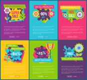 Tous les produits 90 labels finaux absolus totaux de vente illustration de vecteur