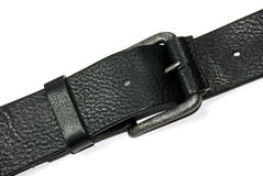 Touser belt. Buckle on leather belt. Black Royalty Free Stock Photography