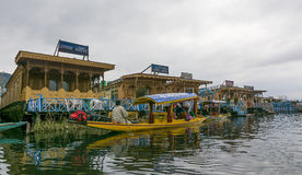 Tousists at House-boats Dal Lake, Kashmir, India Royalty Free Stock Image
