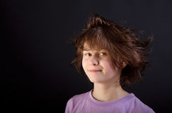 Tousled fun girl child Stock Image