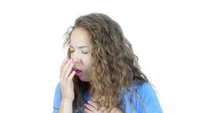 Toussant, femme malade souffrant de la toux, fond blanc, jeunes, banque de vidéos