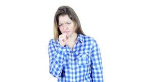 Toussant, femme malade souffrant de la toux, fond blanc, jeunes, clips vidéos