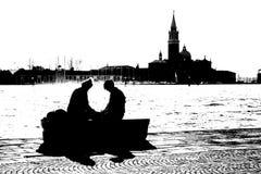 Tout à fait couples par les eaux image libre de droits