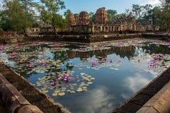 Tout à fait matin chez le Muang Tam, ruines de khmer dans la province Thaïlande d'Isan Images stock