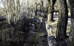 Tout droit une vue de la rivière Photographie stock