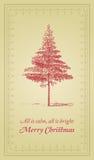 Tout est calme, tout est lumineux - carte de Noël illustration libre de droits