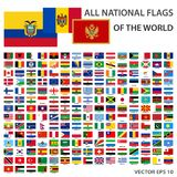 Tout l'ensemble de rectangle de drapeaux de fonctionnaire du monde Accomplissez la collection de drapeaux nationaux illustration libre de droits