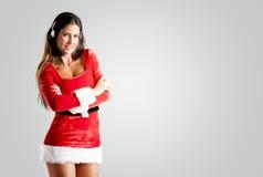 Tout l'exploitant de centre serveur dans un costume rouge de Noël photos libres de droits
