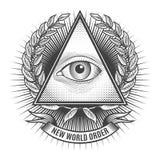 Tout l'oeil voyant dans la triangle de delta illustration de vecteur