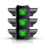 Tout le feu de signalisation vert Photographie stock libre de droits