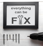 Tout peut être des outils de décoration de maison de la difficulté DIY photo stock