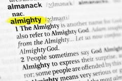 ` Tout-puissant accentué de ` anglais de mot et sa définition dans le dictionnaire photos libres de droits